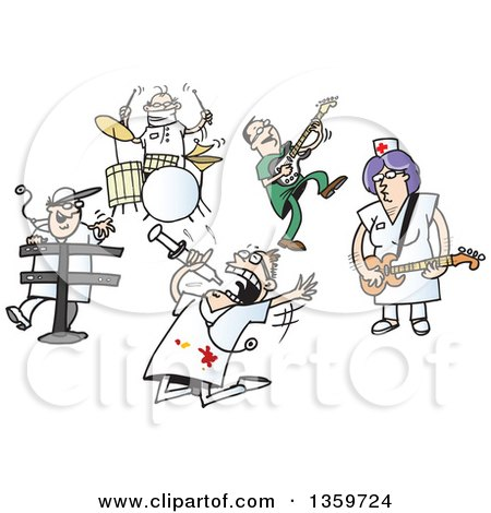 Clipart of a Cartoon Rock and Roll Band of Doctors and Nurses - Royalty Free Vector Illustration by Holger Bogen