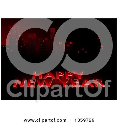 Clipart of a 3d Red Happy New Year Greeting Against a City Skyline - Royalty Free Vector Illustration by dero