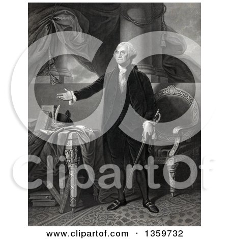 Historical Mezzotint of George Washington Standing and Presenting - Royalty Free Illustration by JVPD