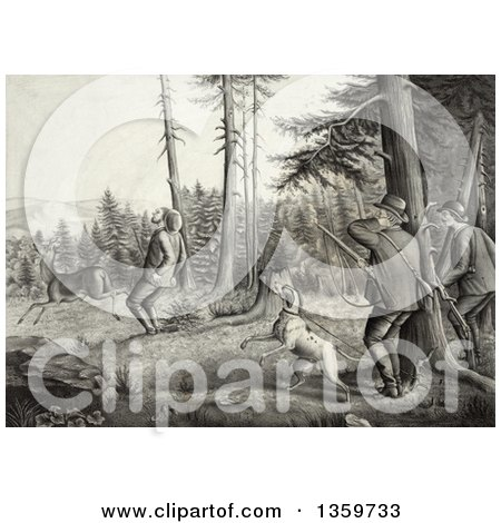 Historical Charcoal Drawing of Men and a Dog Deer Hunting, One Man Getting Stickers in His Butt After Being Kicked by a Buck - Royalty Free Illustration by JVPD