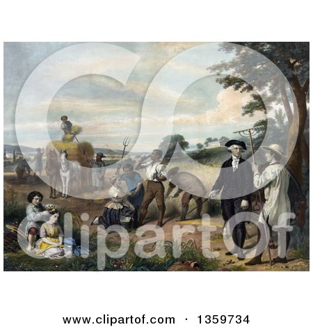 Historical Illustration of George Washington As a Farmer, Family and Workers Tending to Chores in a Grain Field - Royalty Free Illustration by JVPD