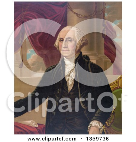 Historical Portrait of George Washington Posing over Drapes and Columns - Royalty Free Illustration by JVPD