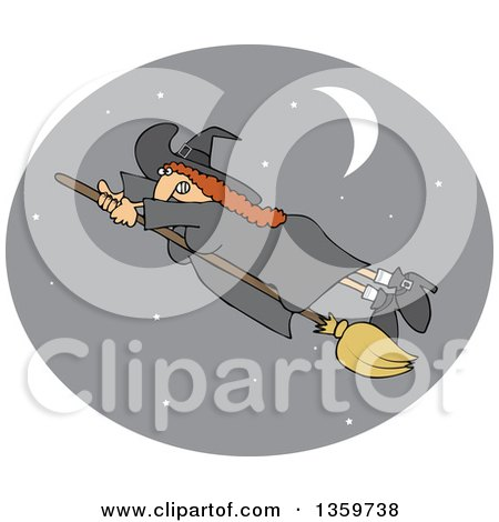Clipart of a Red Haired Witch Hanging onto Her Flying Broomstick, Inside a Crescent Moon and Star Oval - Royalty Free Vector Illustration by djart