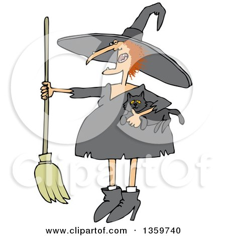 Clipart of a Cartoon Red Haired Chubby Witch Holding a Cat and a Broomstick - Royalty Free Vector Illustration by djart