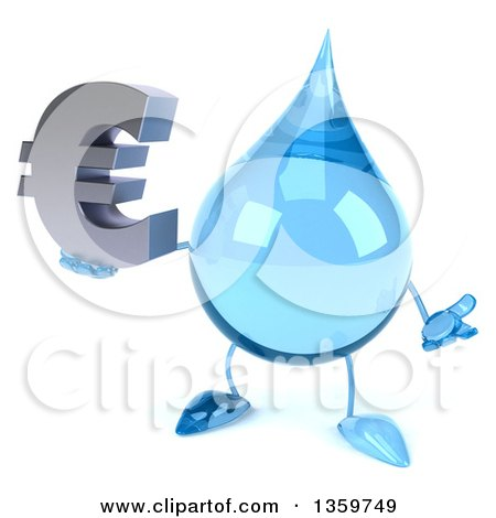 Clipart of a 3d Water Drop Character Shrugging and Holding a Euro Currency Symbol, on a White Background - Royalty Free Illustration by Julos
