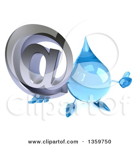 Clipart of a 3d Water Drop Character Holding up a Thumb and Email Arobase at Symbol, on a White Background - Royalty Free Illustration by Julos