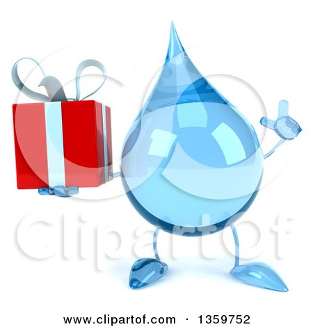 Clipart of a 3d Water Drop Character Holding up a Finger and a Gift, on a White Background - Royalty Free Illustration by Julos