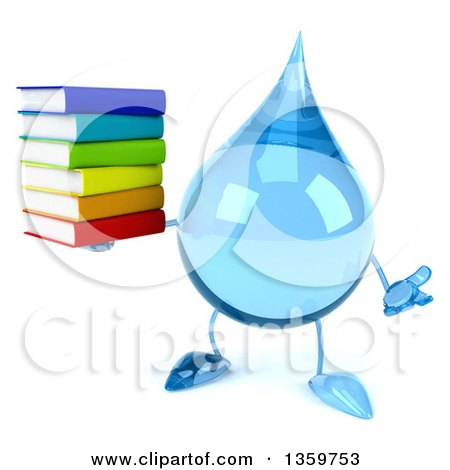 Clipart of a 3d Water Drop Character Holding a Stack of Books and Shrugging, on a White Background - Royalty Free Illustration by Julos