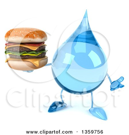 Clipart of a 3d Water Drop Character Shrugging and Holding a Double Cheeseburger, on a White Background - Royalty Free Illustration by Julos