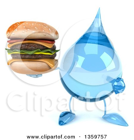 Clipart of a 3d Water Drop Character Holding and Pointing to a Double Cheeseburger, on a White Background - Royalty Free Illustration by Julos