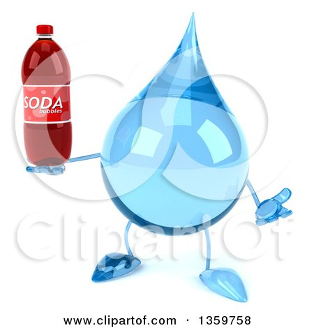 Clipart of a 3d Water Drop Character Shrugging and Holding a Soda Bottle, on a White Background - Royalty Free Illustration by Julos