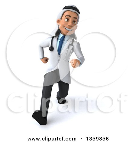 Clipart of a 3d Young Male Arabian Doctor Speed Walking, on a White Background - Royalty Free Illustration by Julos