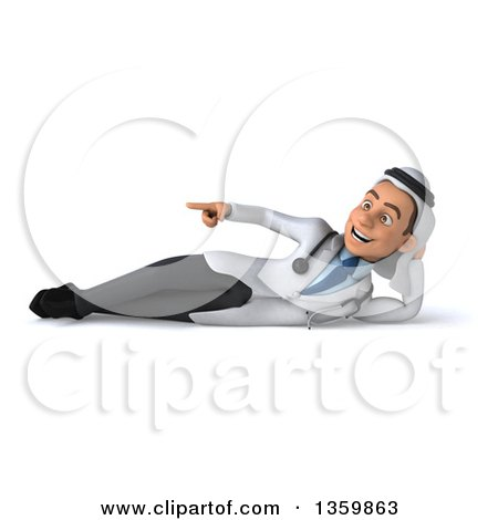 Clipart of a 3d Young Male Arabian Doctor Resting on His Side and Pointing, on a White Background - Royalty Free Illustration by Julos