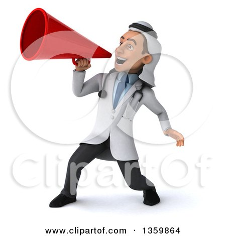 Clipart of a 3d Young Male Arabian Doctor Using a Megaphone, on a White Background - Royalty Free Illustration by Julos