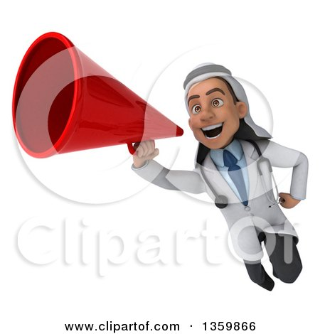 Clipart of a 3d Young Male Arabian Doctor Using a Megaphone and Flying, on a White Background - Royalty Free Illustration by Julos