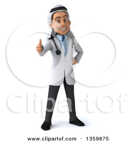 Clipart of a 3d Young Male Arabian Doctor Giving a Thumb Up, on a White Background - Royalty Free Illustration by Julos