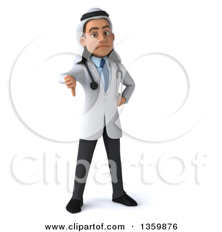 Clipart of a 3d Young Male Arabian Doctor Giving a Thumb Down, on a White Background - Royalty Free Illustration by Julos