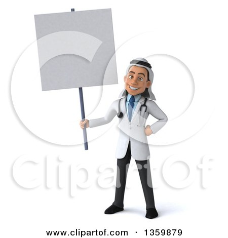 Clipart of a 3d Young Male Arabian Doctor Holding a Blank Sign, on a White Background - Royalty Free Illustration by Julos