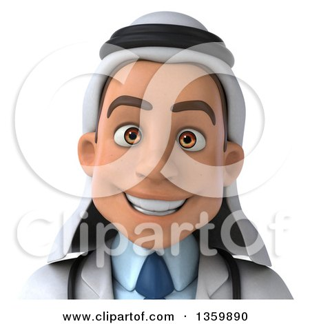 Clipart of a 3d Young Male Arabian Doctor Avatar, on a White Background - Royalty Free Illustration by Julos
