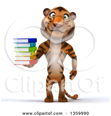 Clipart of a 3d Tiger Holding a Stack of Books, on a White Background - Royalty Free Illustration by Julos