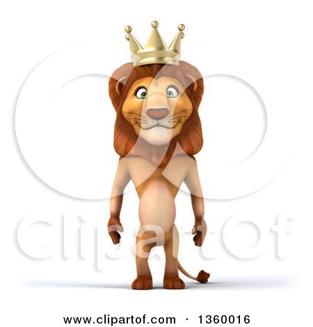 Clipart of a 3d Male Lion King, on a White Background - Royalty Free Illustration by Julos