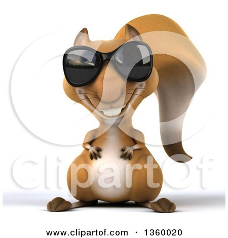 Clipart of a 3d Squirrel Wearing Sunglasses, on a White Background - Royalty Free Illustration by Julos