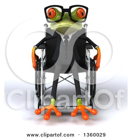 Clipart of a 3d Bespectacled Green Business Springer Frog in a Wheelchair, on a White Background - Royalty Free Illustration by Julos
