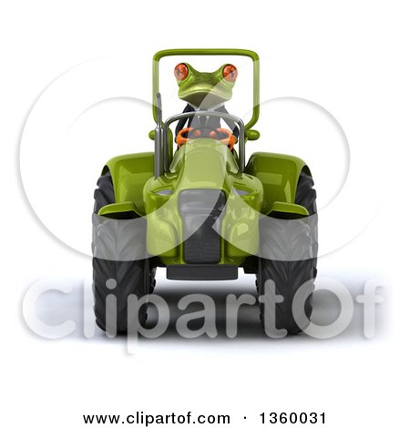 Clipart of a 3d Green Business Frog Operating a Tractor, on a White Background - Royalty Free Illustration by Julos