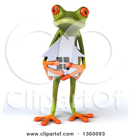 Clipart of a 3d Green Springer Frog Holding a Silver House, on a White Background - Royalty Free Illustration by Julos