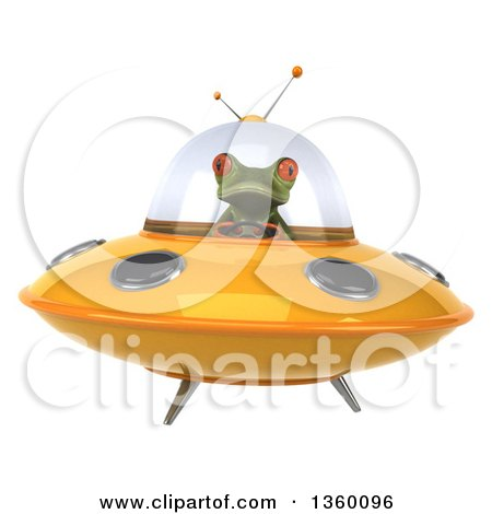 Clipart of a 3d Green Springer Frog Flying a Yellow Ufo, on a White Background - Royalty Free Illustration by Julos
