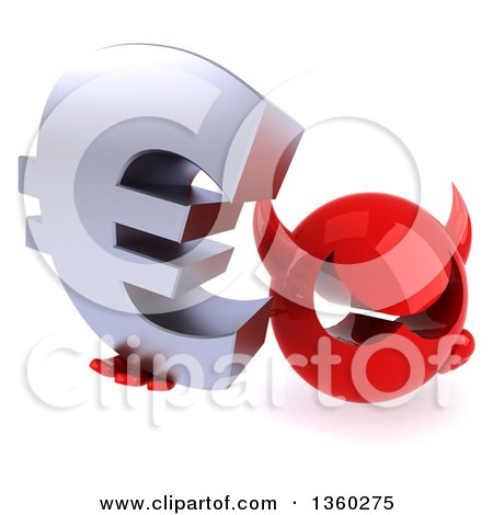 Clipart of a 3d Red Devil Head Holding up a Euro Currency Symbol, on a White Background - Royalty Free Illustration by Julos