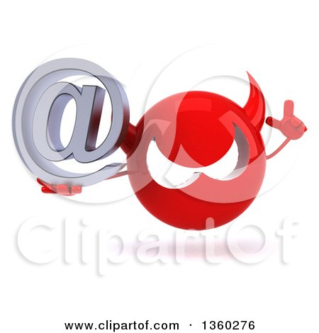 Clipart of a 3d Red Devil Head Holding up a Finger and an Email Arobase at Symbol, on a White Background - Royalty Free Illustration by Julos