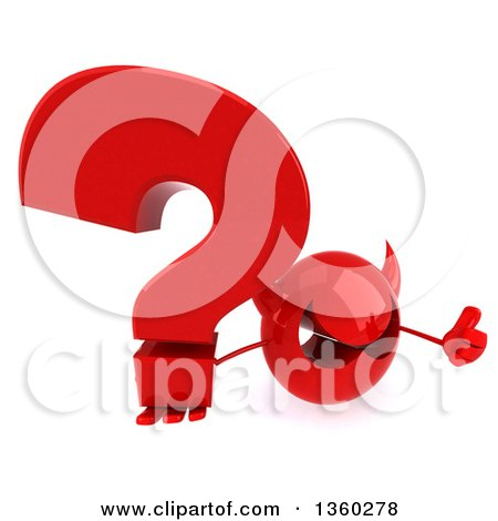 Clipart of a 3d Red Devil Head Holding up a Thumb and a Question Mark, on a White Background - Royalty Free Illustration by Julos