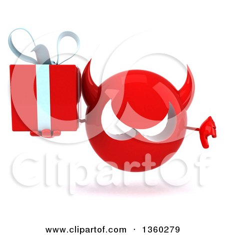 Clipart of a 3d Red Devil Head Holding a Gift and Giving a Thumb Down, on a White Background - Royalty Free Illustration by Julos