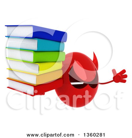 Clipart of a 3d Red Devil Head Holding a Stack of Books and Jumping, on a White Background - Royalty Free Illustration by Julos