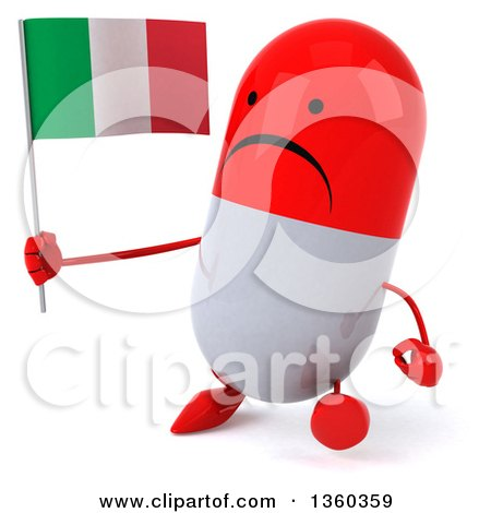 Clipart of a 3d Unhappy Red and White Pill Character Holding an Italian Flag and Walking, on a White Background - Royalty Free Illustration by Julos
