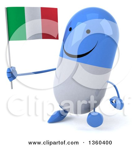 Clipart of a 3d Happy Blue and White Pill Character Holding an Italian Flag and Walking, on a White Background - Royalty Free Illustration by Julos