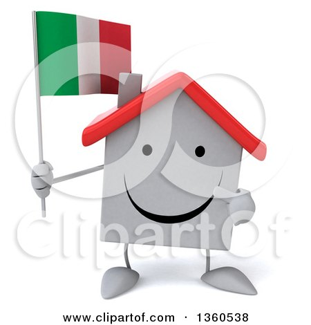 Clipart of a 3d Happy White Home Character Holding and Pointing to an Italian Flag, on a White Background - Royalty Free Illustration by Julos