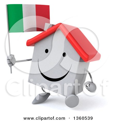 Clipart of a 3d Happy White Home Character Holding an Italian Flag and Walking, on a White Background - Royalty Free Illustration by Julos