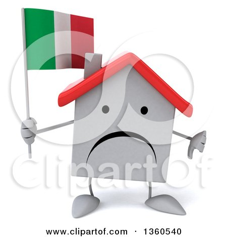 Clipart of a 3d Unhappy White Home Character Holding an Italian Flag and Giving a Thumb Down, on a White Background - Royalty Free Illustration by Julos