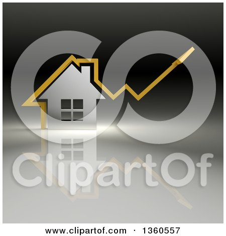 Clipart of a 3d Yellow Arrow over a Chrome House, on a Gradient Background - Royalty Free Illustration by Julos