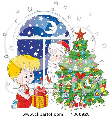 Clipart Of A Santa Claus Peeking In A Window Watching A Blond White Boy Smile At A Gift By A Christmas Tree Royalty Free Vector Illustration