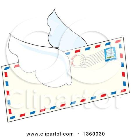 Cartoon Winged Airmail Envelope Flying Posters, Art Prints