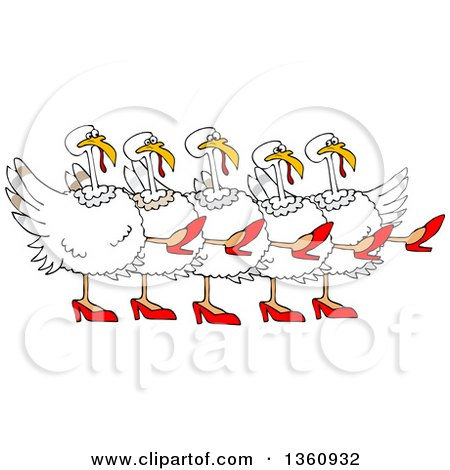 Clipart Of A Cartoon Chorus Line Of White Turkeys Wearing Heels And Dancing The Can Can Royalty Free Vector Illustration