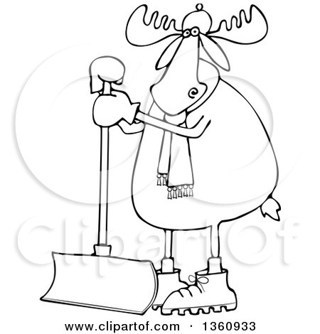 Clipart of a Cartoon Black and White Moose Wearing a Hat and Scarf and Standing with a Snow Shovel - Royalty Free Vector Illustration by djart