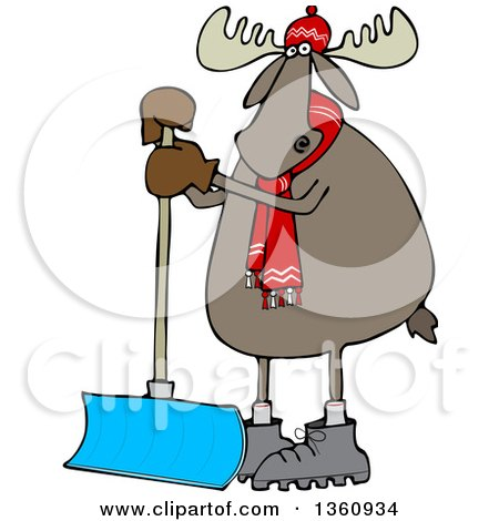 Clipart of a Cartoon Moose Wearing a Hat and Scarf and Standing with a Snow Shovel - Royalty Free Vector Illustration by djart