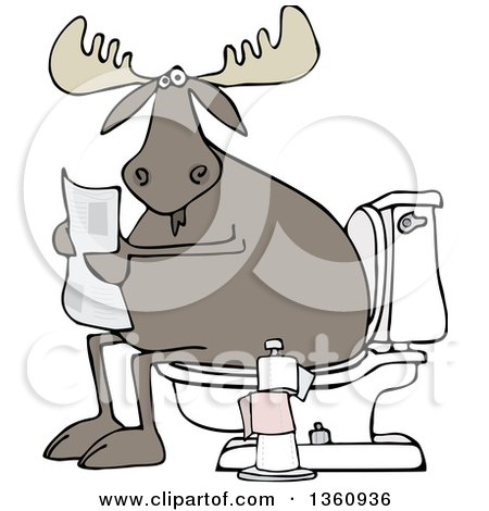 Clipart of a Cartoon Moose Reading a Newspaper on a Toilet - Royalty Free Vector Illustration by djart
