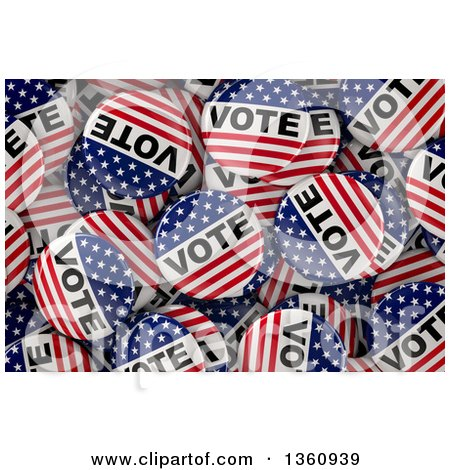 Clipart of a Background of 3d American Presidential Election Vote Buttons - Royalty Free Illustration by stockillustrations
