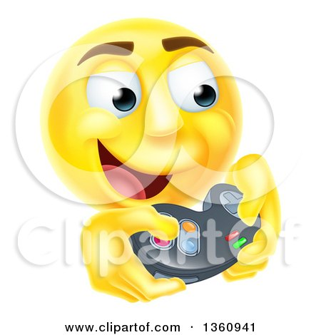 Clipart of a 3d Yellow Male Smiley Emoji Emoticon Face Playing a Video Game - Royalty Free Vector Illustration by AtStockIllustration