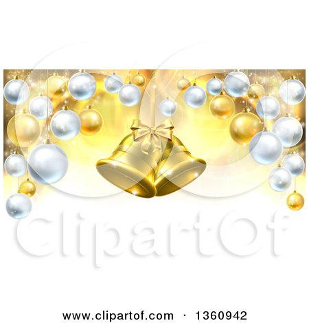 Clipart of 3d Golden Christmas Bells Suspended over a Background with Baubles - Royalty Free Vector Illustration by AtStockIllustration